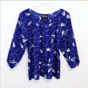 Yumi Kim Royal Blue Smocked Popover Feather Blouse